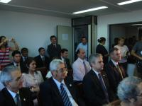 En primera plana, de izquierda a derecha, Diectores de las ONPFs de Brasil, Uruguay y Argentina en ceremonia de firma del nuevo Acuerdo IICA-COSAVE